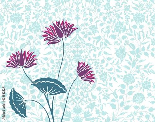 water lily, wedding card design, royal India Fototapeta