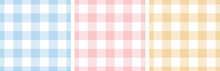 Gingham Pattern Set. Tartan Checked Plaids In Blue, Pink, Yellow, White. Seamless Pastel Vichy Backgrounds For Tablecloth, Dress, Skirt, Napkin, Or Other Easter Holiday Textile Design.