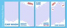 Set Vector Illustrations Social Media Post Car Wash