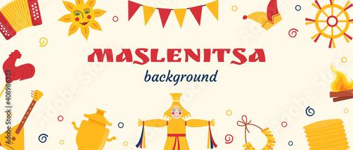Tableau sur Toile Web Banner for Maslenitsa Pancake week