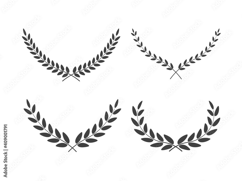 Fototapeta Set of wide laurel wreaths vectors of different shapes isolated on white background