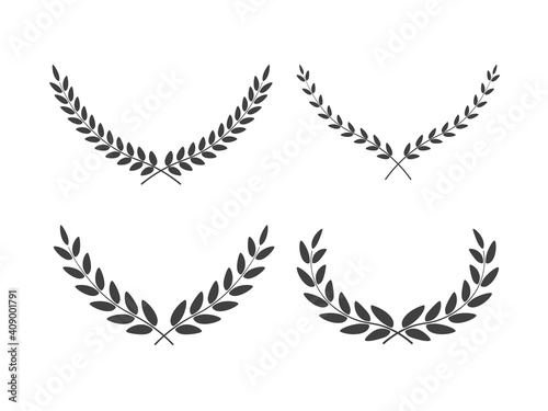 Tela Set of wide laurel wreaths vectors of different shapes isolated on white backgro
