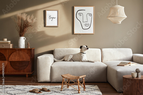 Stylish interior of living room with design modular sofa, furniture, coffee table,  decoration, dried flowers and elegant accessories in modern home decor. Beautiful dog lying on the sofa. Template. © FollowTheFlow