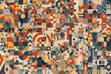 Abstract Composition Background Made Of Blocks With A Great Variety Of Different Simple Geometric Shapes And Seamless Patterns For Your Design