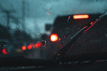 Water Droplets On The Glass In The Evening Rain Blur
