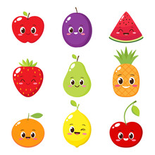 Cartoon Fruit And Berry Characters Set