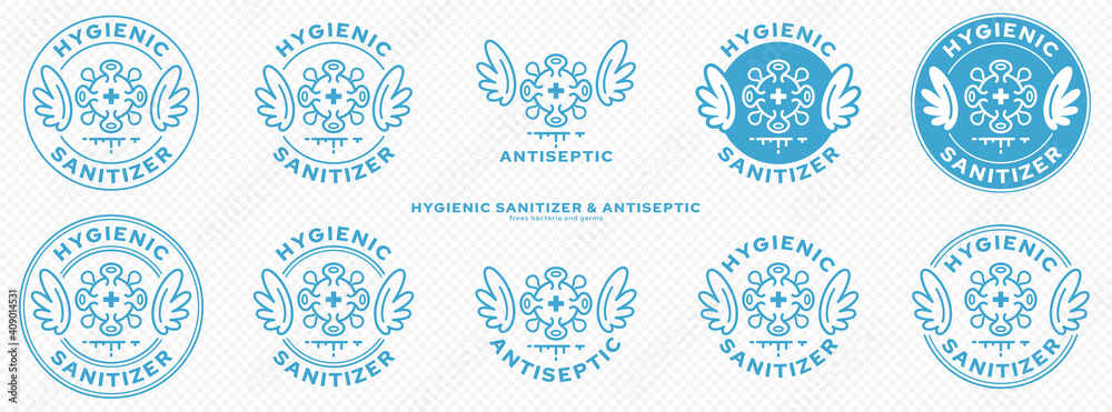 Fototapeta Conceptual marks for product packaging. Marking - hygienic sanitizer or antiseptic. A brand with wings and a bacteria or microbe icon - a symbol of the medical destruction of bacteria. Vector