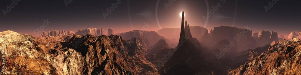 Fototapeta Mars, martian landscape, panorama of Mars, alien landscape, mars at sunrise, 3d rendering