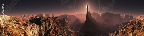 Photographie Mars, martian landscape, panorama of Mars, alien landscape, mars at sunrise, 3d