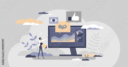 Fotomural Social media metrics for advertising feedback analysis tiny person concept