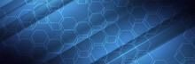 Blue Technology Background. 3d Hexagon Shapes. Futuristic Vector Illustration