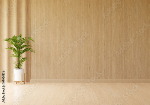 Obraz Green plant in wooden living room with free space for mockup, 3D rendering - fototapety do salonu