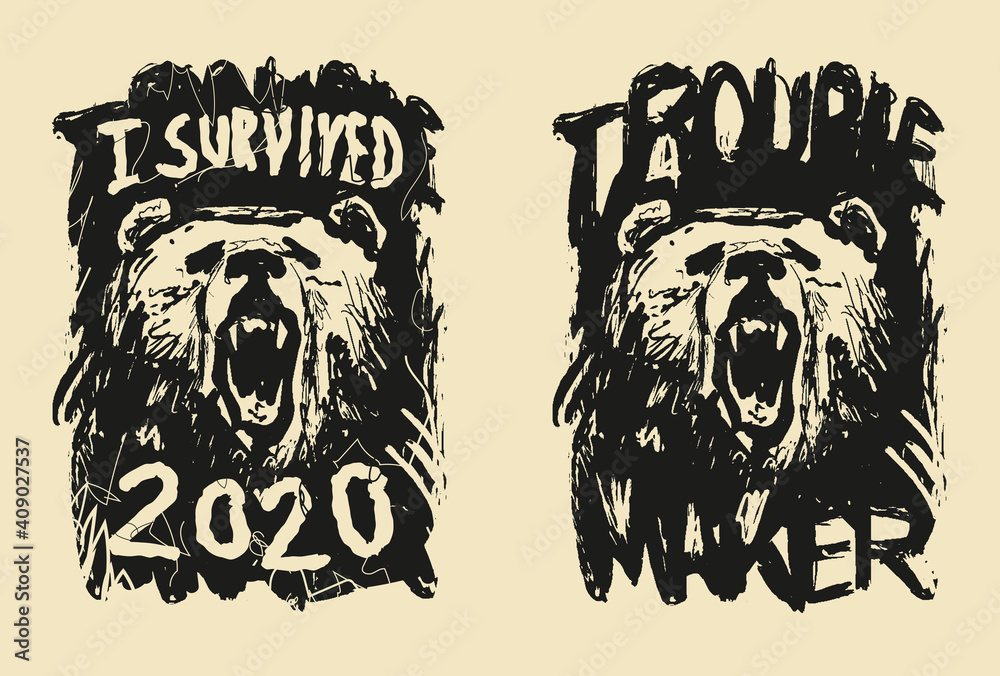 Fototapeta I survived 2020. Awareness lettering phrase. Coronavirus in China. Novel coronavirus. Bear head.
