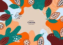 Vector Frame With Doodle Cocoa And Abstract Elements. Hand Drawn Illustrations.