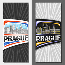 Vector Vertical Layouts For Prague, Decorative Flyers With Illustration Of Historical Prague City Scape On Day And Dusk Sky Background, Art Design Tourist Card With Unique Lettering For Word Prague.