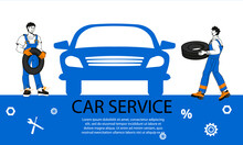Car Repair Service Banner Design For Web And Print Materials. Cartoon Minimalist Style Banner Or Leaflet For Car Maintenance Service And Tire Workshop, Hand Drawn Vector Illustration.