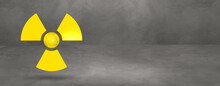 Radioactive Symbol On A Concrete Studio Background Banner