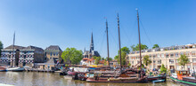 Panorama Of Old Wooden Sailing Ships In The Harbor Of Gouda, Netherlands