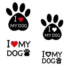 Set Of Dog Tracks With Text, Logos, Vector Isolated Illustration, Design, Decoration, Print Trail