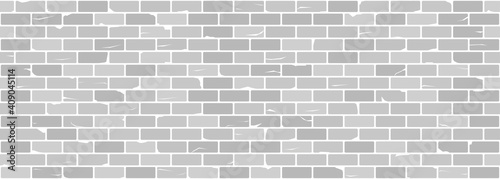 Canvas Print White or grey old brick wall seamless texture