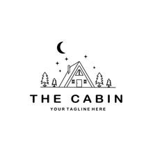 Cabin Logo Minimalist Vector Line Art Design Illustration