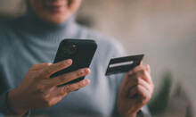Mobile Payment With Wallet App Technology. Woman Paying And Shopping With Smartphone Application. Digital Money Transfer, Banking And E Commerce Concept.