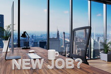 New Job; Cozy Couch In Front Of Modern Workspace With Computer And Skyline View; Hiring Concept; 3D Illustration