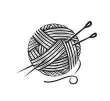 Skein Of Wool Yarn With Needles. Knitting, Needlework Symbol Vector Illustration