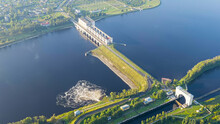 Uglich, Russia. Uglich Pound Lock. Gateway Water Discharge. Early Morning, Aerial View