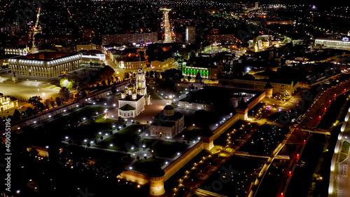 Fototapeta Tula, Russia. Aerial view of the city at night. Tula Kremlin, Lenin Square and River embankment, Aerial View obraz na płótnie
