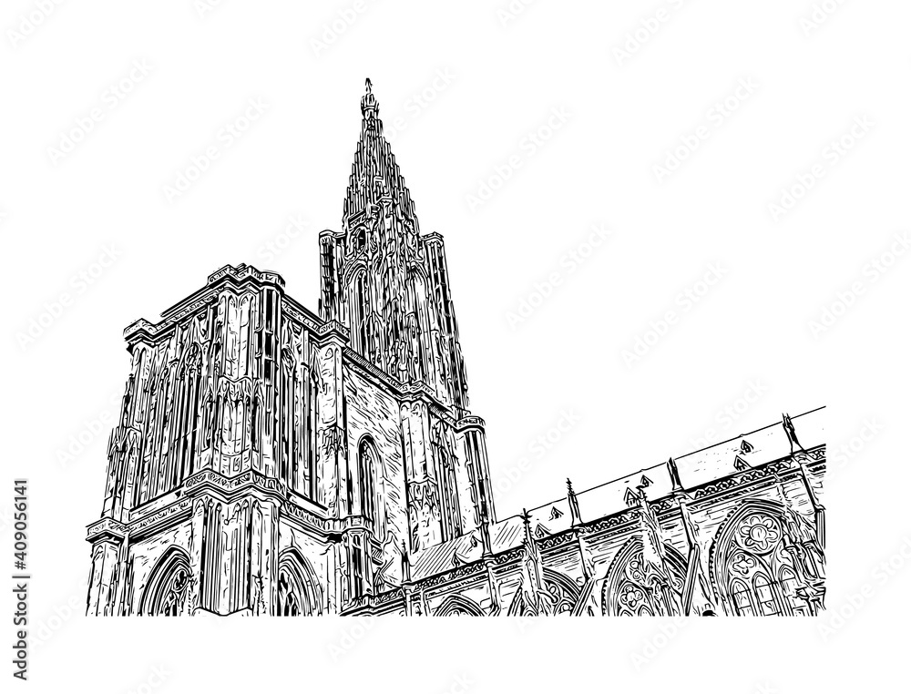 Fototapeta Building view with landmark of Strasbourg is the city in France. Hand drawn sketch illustration in vector.