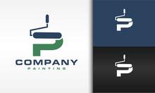 Initials P Paint Roller Logo