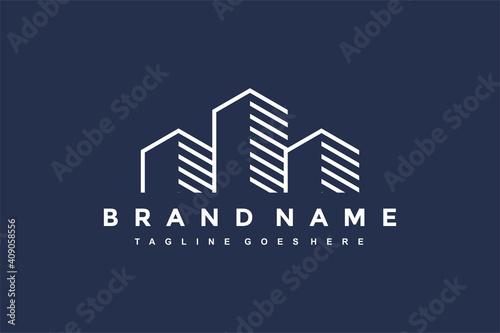 city building outline logo Fototapet