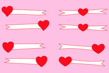 Set Of Thin White Ribbons, Labels With Red Hearts. Hand Drawn Frames And Blanks. For Decoration, Banners, Festive Postcards Design, Icons, Packages, Wallpapers, Prints