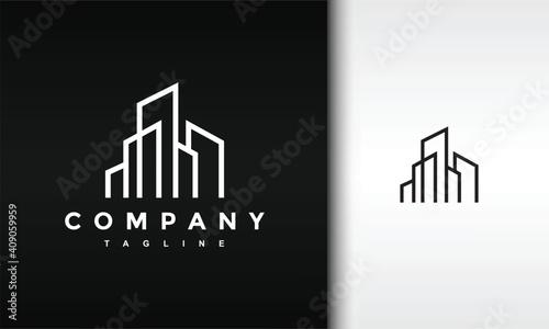 Foto minimal outline city building logo