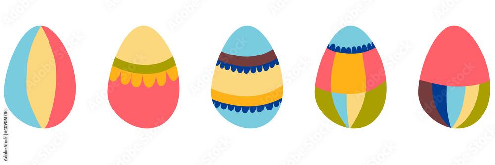 Fototapeta A set of decorated Easter eggs. Vector illustration.