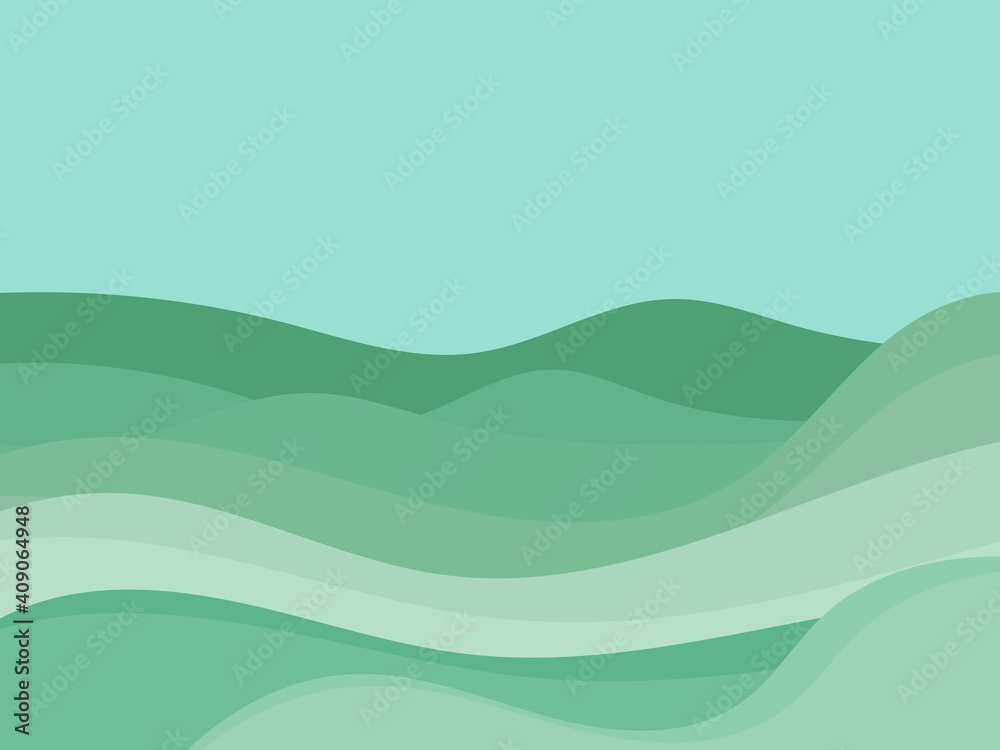 Fototapeta Natural landscape in a minimalistic style. Plains and mountains, fields and meadows. Typographic boho decor for prints, posters and interior design. Mid Century modern decor. Vector illustration
