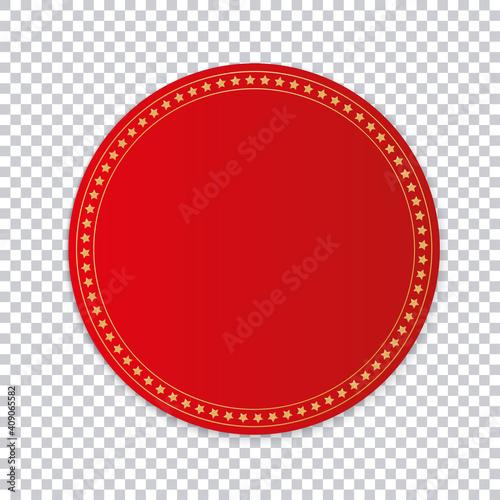Obraz red round sticker banner on transparent background  - fototapety do salonu