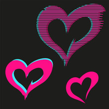 Vector Glitch Effect, Set Of Three Different Hearts, Pink Color On A Black Background Stylization