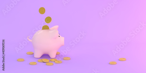 Pig piggy bank with coins on a purple background. 3D render #409069536