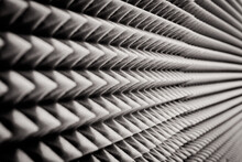 Close Up Sound Absorption, Noise Reduction Texture In Recorder Room ,with Light Flare