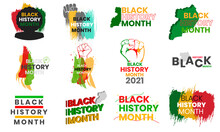 Black History Month Varieties Text Vector Elements Set For T Shirts Or Other Purpose.