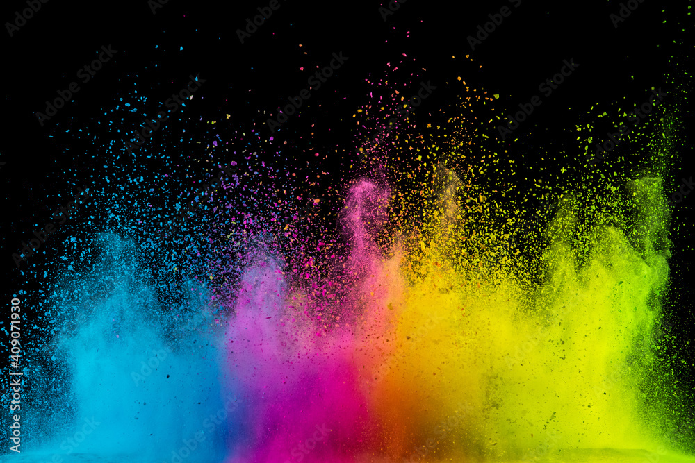 Fototapeta Colored powder isolated on black background. Abstract background.