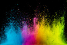 Colored Powder Isolated On Black Background. Abstract Background.