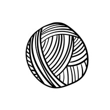 Yarn Ball For Knitting And Crochet In Cartoon Style