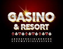 Vector Premium Logo Casino And Resort With Decorative Elements. White And Gold 3D Font. Luxury Alphabet Letters And Numbers Set