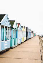 Beach Huts On The Seafront At Southwold, Suffolk