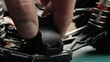 Close-up radio control model buggy car. The hands of the master disassemble the differential
