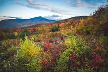 Male And Female Hiking With Mountain Bikes During Fall Foliage Season