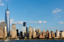 Lower Manhattan Skyline At Sunset In NYC, USA